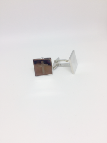 Cross Engraved T-bar Cufflinks